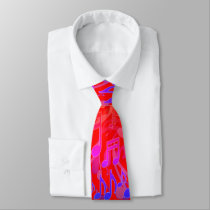 Music Notes Musical Pattern Red Bright Colors Neck Tie