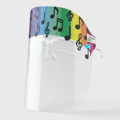 Music Notes Musician Teacher Rainbow Face Shield