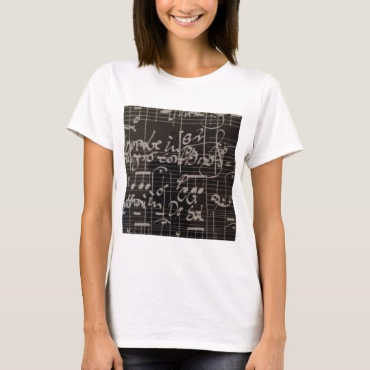 music notes on black background graphic T-Shirt