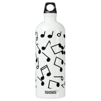 Music Notes on Blank (Add Background Color) Aluminum Water Bottle