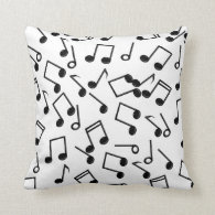 Music Notes on Blank (Add Background Color) Pillow