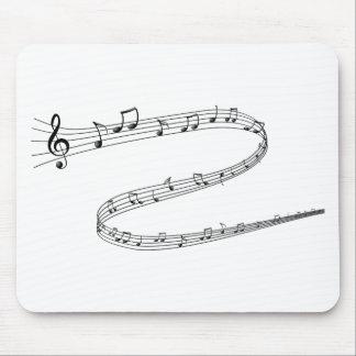 Music Notes on Curvy Lines Mouse Pad