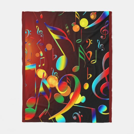 Music Notes on Fleece Blanket