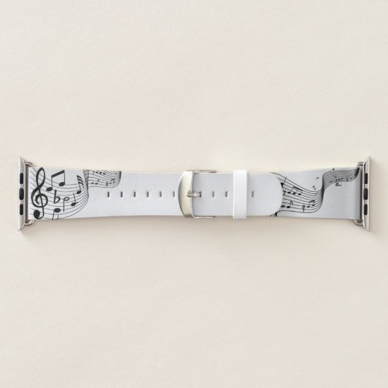 Music Notes on Silver Apple Watch Band