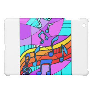 Music notes on stained glass type background blue iPad mini covers