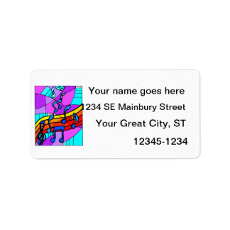 Music notes on stained glass type background blue custom address labels