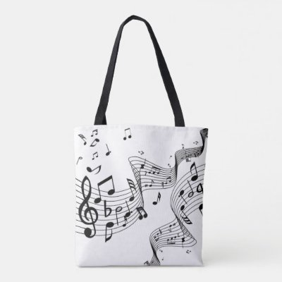Music Notes on White Tote Bag