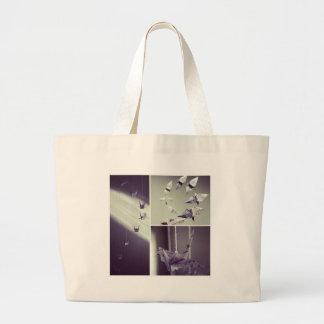 Music Notes Origami Crane Mobile Canvas Bag