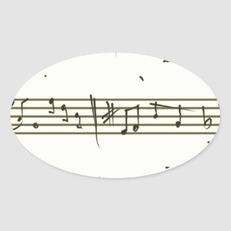 Music notes oval sticker