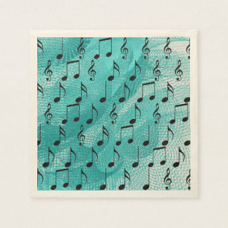 Music notes standard cocktail napkin