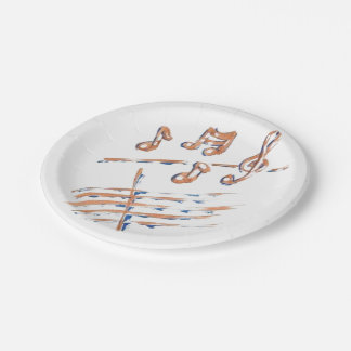 MUSIC NOTES PAPER PLATES 7INCH