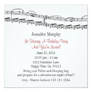 Music Notes Party Invitations at Zazzle