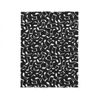 Music Notes Pattern Black and White Fleece Blanket