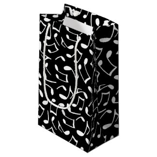 Music Notes Pattern Black and White Small Gift Bag
