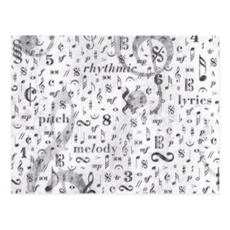 Music Notes Pattern Postcard