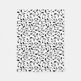 Music Notes Pattern White and Black Fleece Blanket