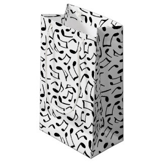 Music Notes Pattern White and Black Small Gift Bag