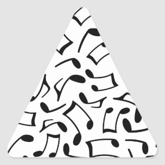 Music Notes Pattern White and Black Triangle Sticker