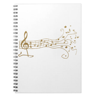 MUSIC NOTES PENTAGRAM GOLD, HAPPY MUSIC GIFTS NOTEBOOK