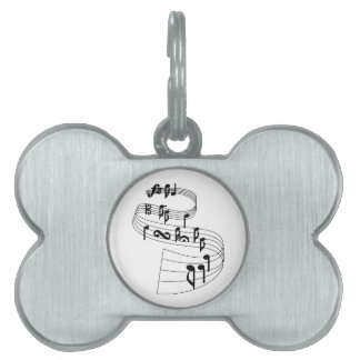 Music Notes Pet Name Tags