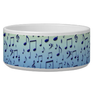 Music notes pet water bowls