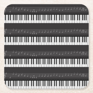 Music Notes Piano Keyboard Musical Instruments Square Paper Coaster