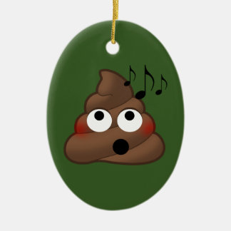 Music Notes Poop Emoji Ceramic Ornament