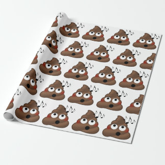 Music Notes Poop Emoji Wrapping Paper