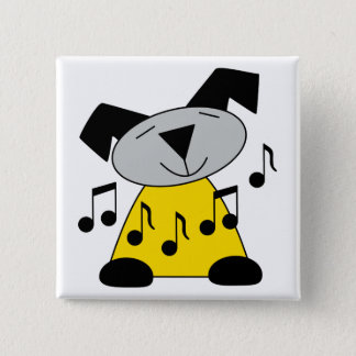 Music Notes Puppy Pinback Button