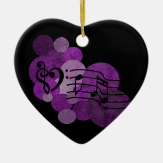 Music notes & purple polka dots ornament
