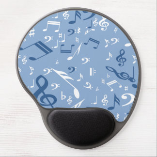 Music Notes Random Pattern Blue and White Gel Mouse Mats