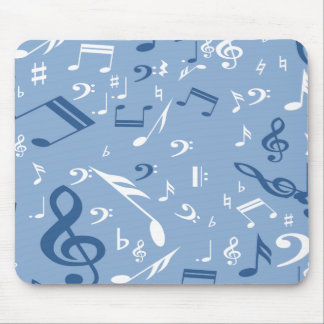 Music Notes Random Pattern Blue and White Mousepad