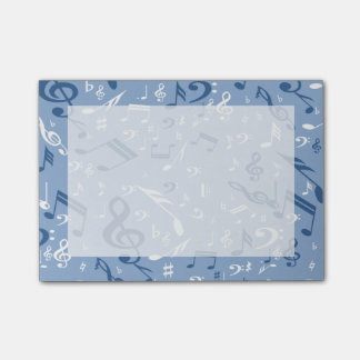 Music Notes Random Pattern Blue and White Post-it® Notes