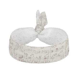 Music notes ribbon hair tie