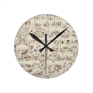 Music notes round clock