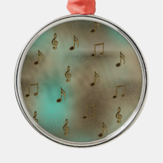 Music & Notes Round Metal Christmas Ornament