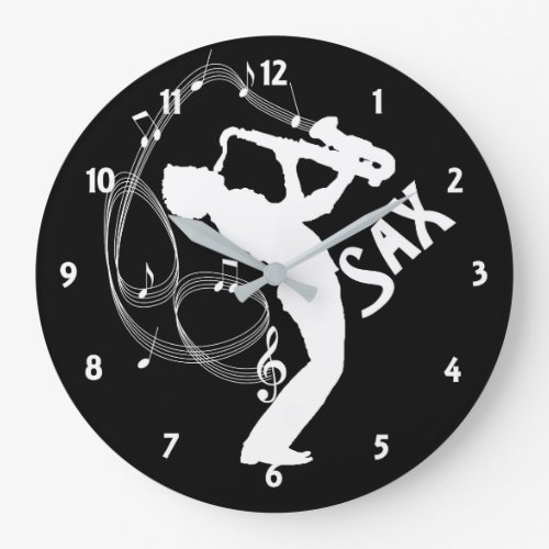 Music Notes Saxophone Player Musicians Large Clock