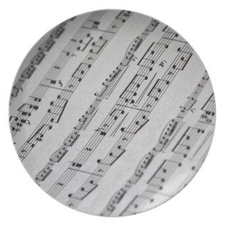 music notes sheet music plates