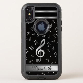 music notes silver and black OtterBox defender iPhone x case