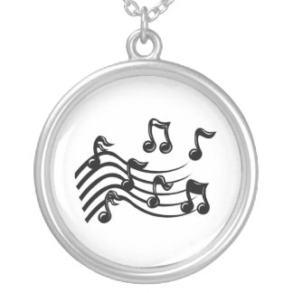 music notes silver plated necklace