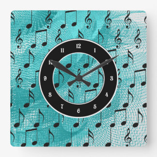 Music notes square wall clock