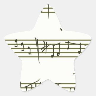 Music notes star sticker
