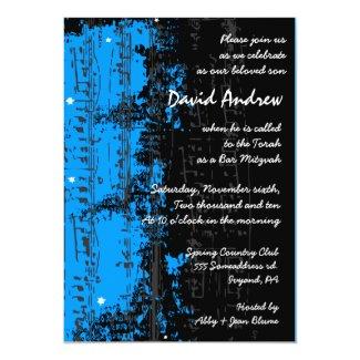 "Music Notes Stars Bar Mitzvah Invitation blue 5"" X 7"" Invitation Card"