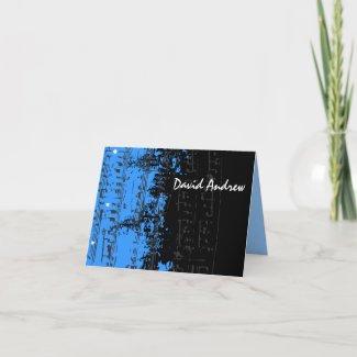 Music Notes Stars Bar Mitzvah thank you card card