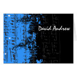 Music Notes Stars Bar Mitzvah thank you card