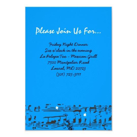 Music Notes Stars Bat Mitzvah Party Reception Card
