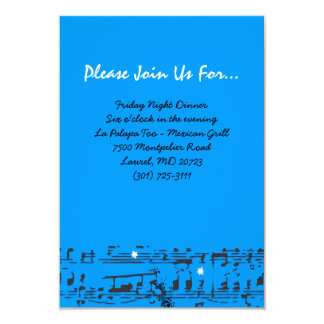 Music Notes Stars Bat Mitzvah Party Reception Card Announcements