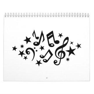 Music notes stars calendar