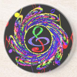 Music Notes Swirl Sandstone Coaster