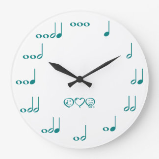 Music Notes - teal blue Large Clock